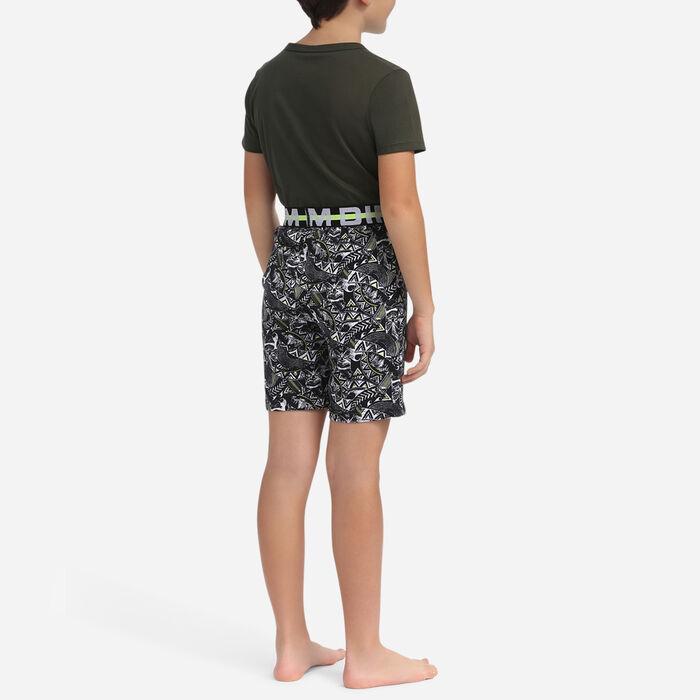 Pyjama court pour garçon Kaki et imprimé aztèque, , DIM