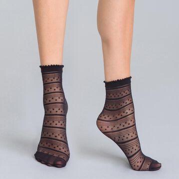 Socquettes à rayures et petites étoiles noires 18D Style-DIM