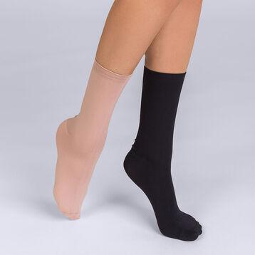 Lot de 2 chaussettes Skin noir et nude Femme, , DIM