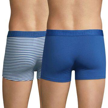 Lot de 2 boxers bleu de nuit et rayures marine - Mix & Fancy, , DIM