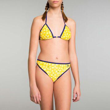 Maillot de bain 2 pièces fille imprimé citron - Bain citrons, , DIM