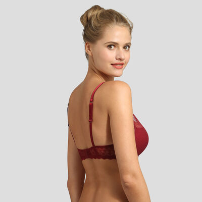 Soutien-gorge foulard push-up dentelle mesh plumetis rouge Daily Glam , , DIM