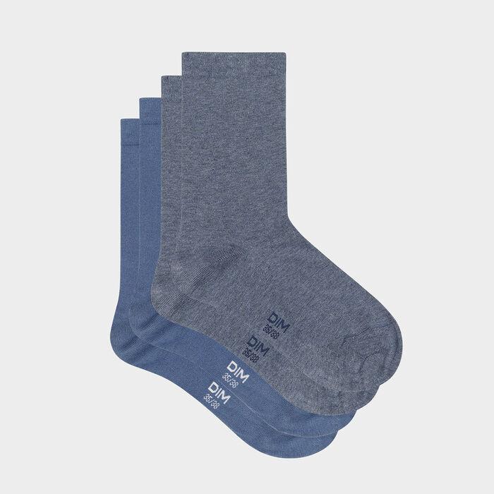 Lot de 2 paires de chaussettes femme Bleu Marine Blanc Basic Coton, , DIM