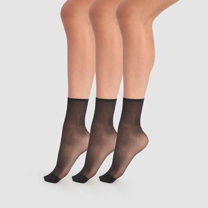 Lot de 3 socquettes transparentes noires Beauty Resist 20D, , DIM