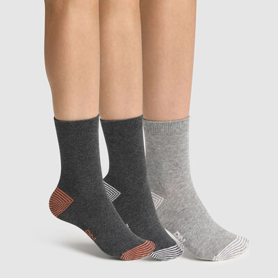 Lot de 3 paires de chaussettes enfant mix and match Gris Coton Style , , DIM