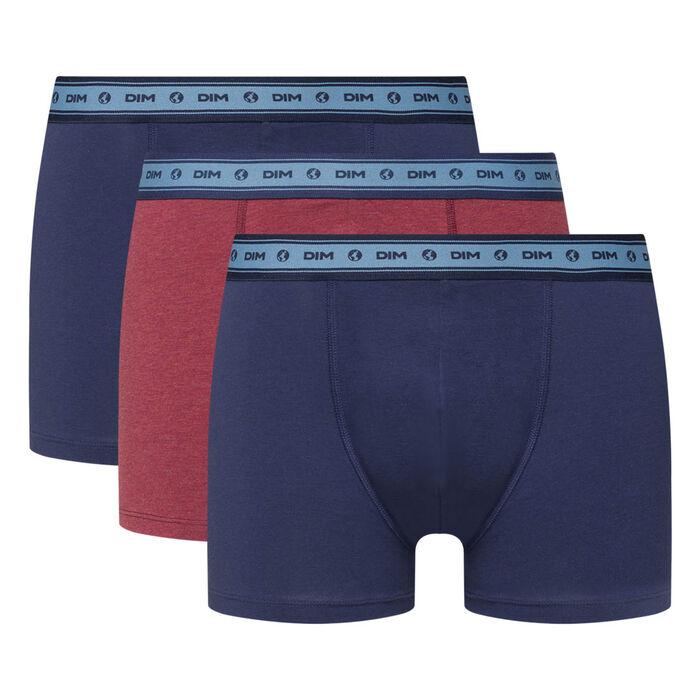 Lot de 3 boxers coton stretch bio bleu denim rouge vin Green by Dim, , DIM