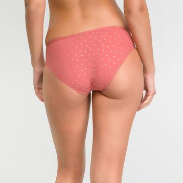 Culotte femme microfibre rose imprimé plumetis doré - Dim Generous, , DIM