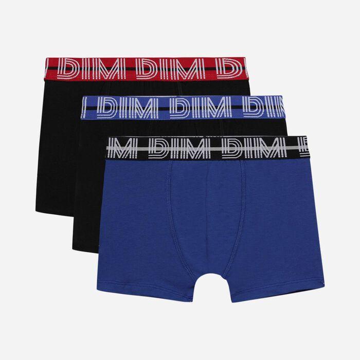 Lot de 3 boxers garçon coton stretch à ceinture contrastée Bleu Ecodim, , DIM