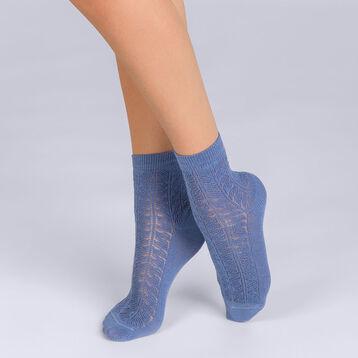 Socquettes Coton style Moucharabieh bleu Femme-DIM