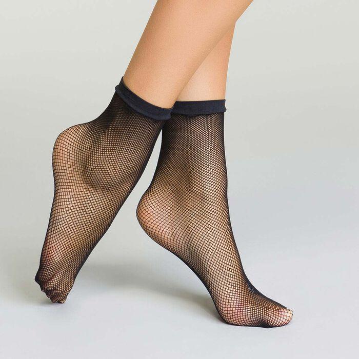 Socquettes noires en résille pour femme Style, , DIM