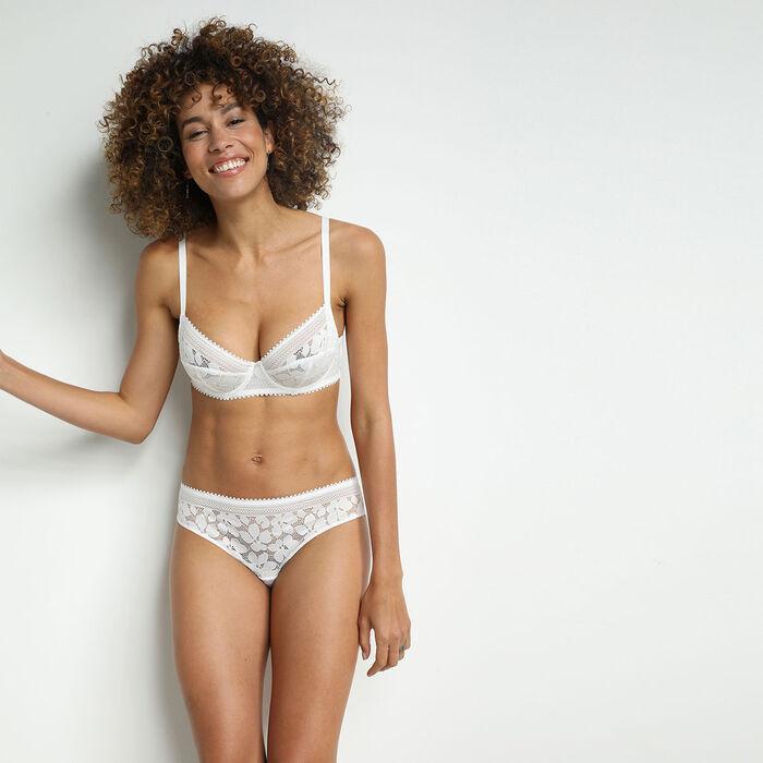 Slip femme en dentelle à motifs fleuris Blanc Daily Glam, , DIM