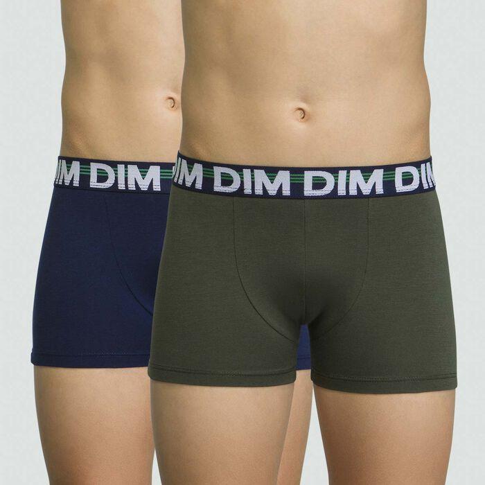 Lot de deux boxers pour garçon Vert Militaire en coton stretch Eco Dim, , DIM