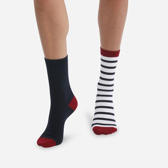 Lot de 2 paires de chaussettes femme à rayures Bourgogne Coton Style, , DIM