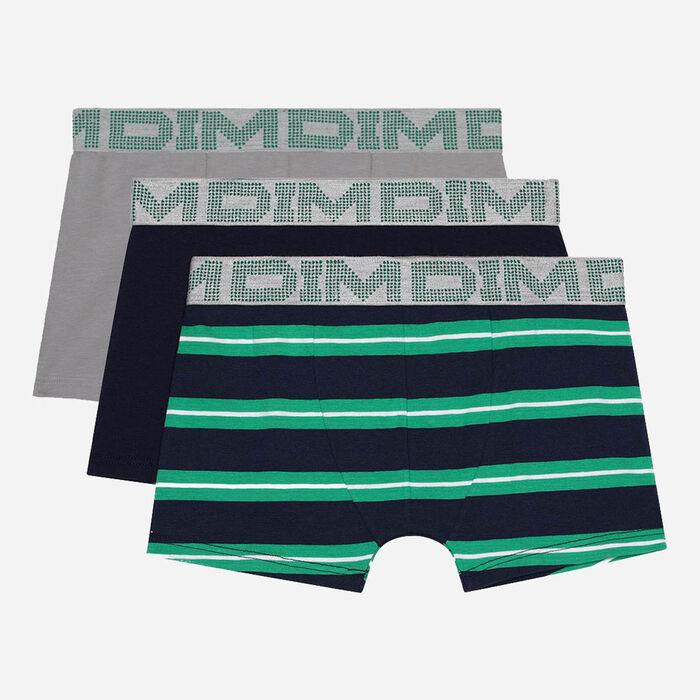 Lot de 3 boxers garçon coton stretch rayures vertes Bleu Dim Rythmics, , DIM