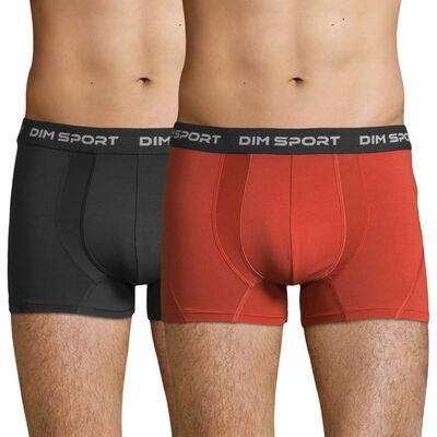 Lot de 2 boxers sport coton stretch rouge et gris granit  – Dim Sport, , DIM