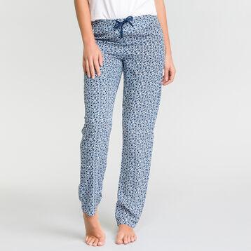 Pantalon pyjama blanc à imprimé fleuri bleu - Fashion, , DIM