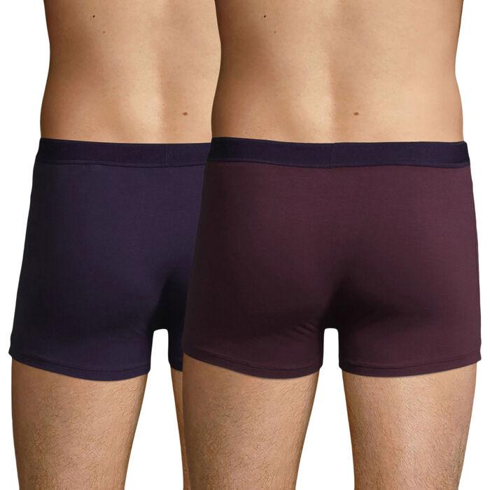 Lot de 2 boxers en Coton Stretch mauve vigne violet velours Soft Power, , DIM