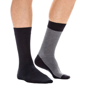 Lot de 2 paires de chaussettes grises à rayures fines Homme, , DIM