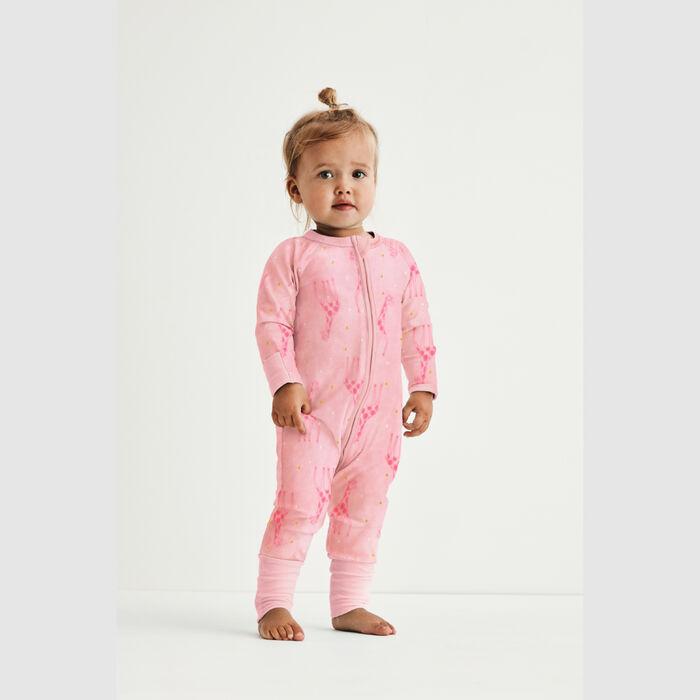 Pyjama bébé velours à zip double sens motif girafe rose Dim baby, , DIM