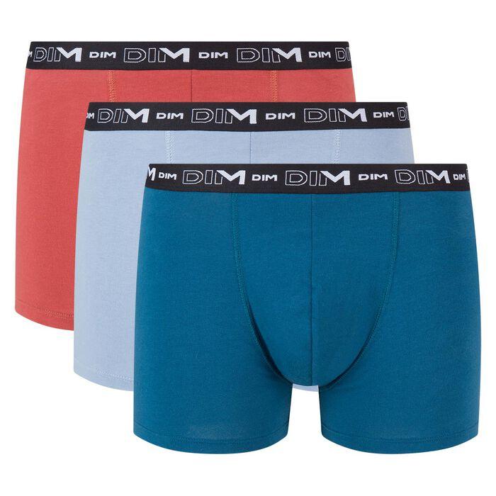 Lot de 3 boxers bleu glacier bleu minuit rouge camelia Coton Stretch , , DIM