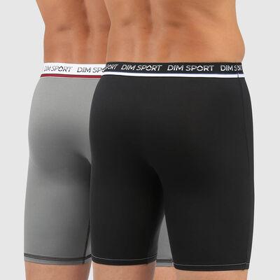 Lot de 2 boxers microfibre thermoregulation active noir gris Dim Sport, , DIM