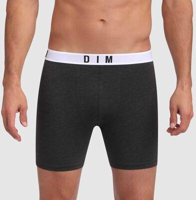 Boxer long gris foncé en coton et modal à ceinture grise Dim Originals, , DIM