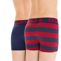 Lot de 2 boxers bleu et rouge rayé en coton DIM Boy-DIM