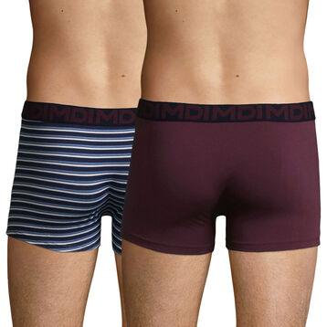 Lot de 2 boxers coton Imprimé Rayé et Mauve Vigne Mix & Fancy, , DIM