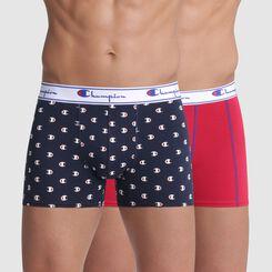 Lot de 2 boxers bleu imprimé logo et rouge coutures contrastées  - Champion, , DIM