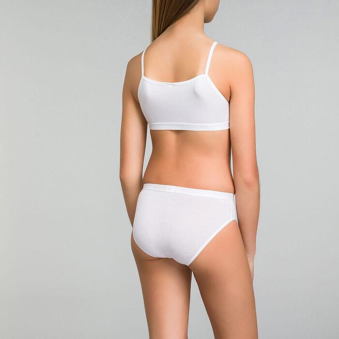 Lot de 2 culottes fille blanches imprimé logo Pocket Basic, , DIM