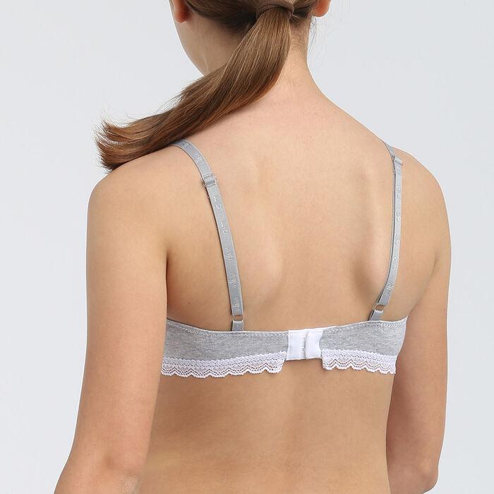 Soutien-gorge fille à coques moulées en coton stretch Gris Dim Trendy, , DIM