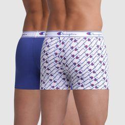 Lot de 2 boxers blanc imprimé logo et bleu coutures apparentes - Champion, , DIM