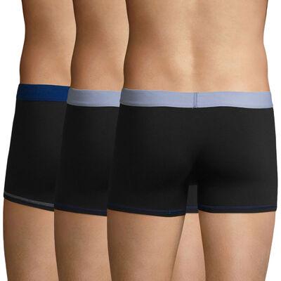 Lot de 3 boxers Noir-Bleu Ciel et Noir-Bleu Azur Mix and Colors, , DIM