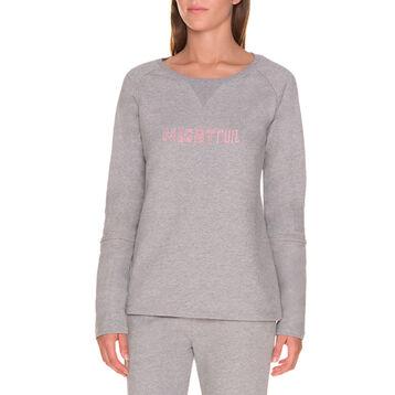 Sweatshirt gris de pyjama Femme-DIM