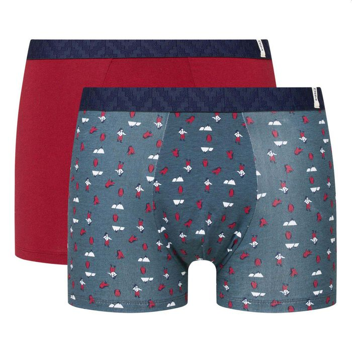 Lot de 2 boxers coton stretch imprimé alpiniste rouge pack cadeau Dim, , DIM