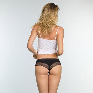Lot de 2 shortys dentelle femme Noir et Violet Précieux Sexy Fashion, , DIM