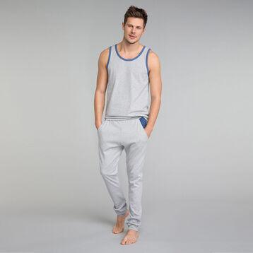 Pantalon jogging gris chiné et poches bleues - Essential, , DIM