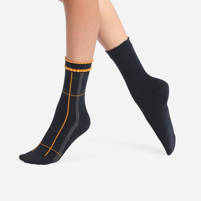 Lot de 2 paires de chaussettes femme tartan Moutarde Bleu Coton Style, , DIM