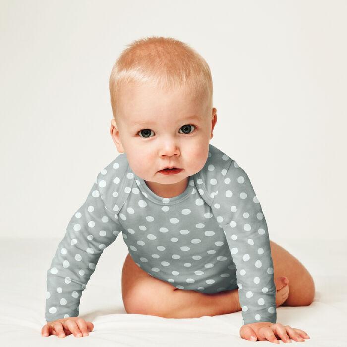 Lot de 3 body coton bio à manches longues et pois Blanc Gris Dim Baby, , DIM