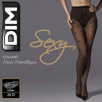Collant roses romantiques noir 20 D Femme Dim Sexy-DIM