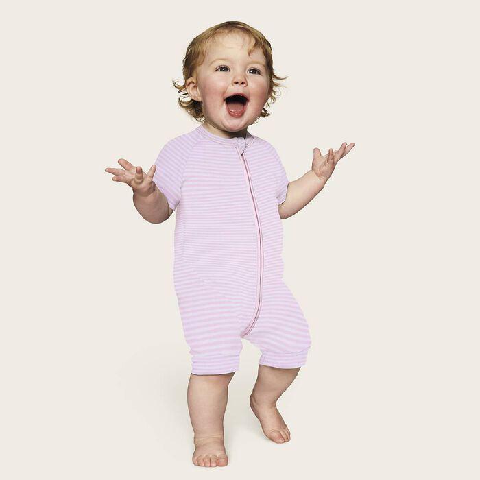 Barboteuse bébé fille zippée Rayé Rose layette et blanc DIM Baby, , DIM