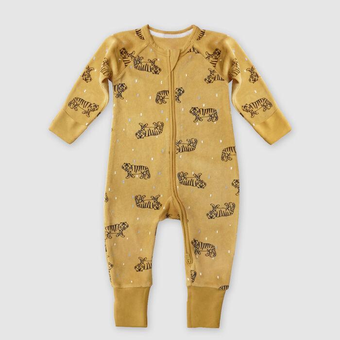 Pyjama bébé velours à zip double sens motif Tigre Jaune Dim baby, , DIM