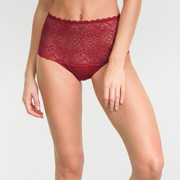 Culotte taille haute dentelle rouge impérial - Dim Sublim Dentelle, , DIM