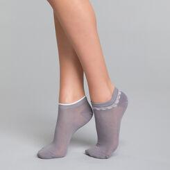2 paires de socquettes courtes coton grises & motifs - Dim Coton Style, , DIM