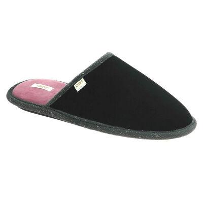 Chaussons type pantoufles noirs intérieur rose Femme, , DIM