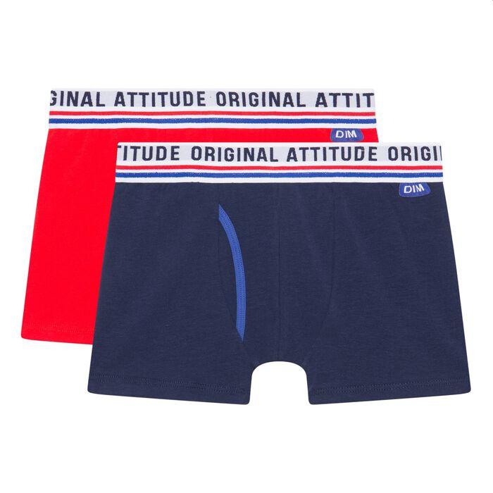 Lot de 2 boxers garçon en coton stretch Matelot Dim Original, , DIM