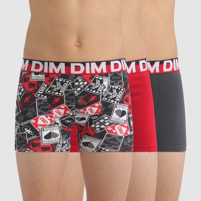 Lot de 3 boxers garçon en coton stretch à motif cartes Rouge Dim, , DIM