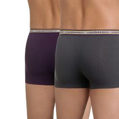Lot de 2 boxers gris plomb et violet profond 3D Flex-DIM