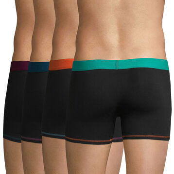 Lot de 4 boxers noirs ceinture colorés MIX & COLORS-DIM