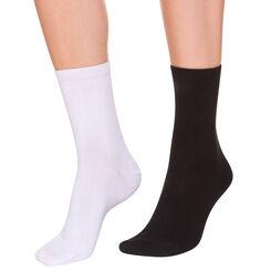 Lot de 2 paires de mi-chaussettes noires et blanches Femme, , DIM